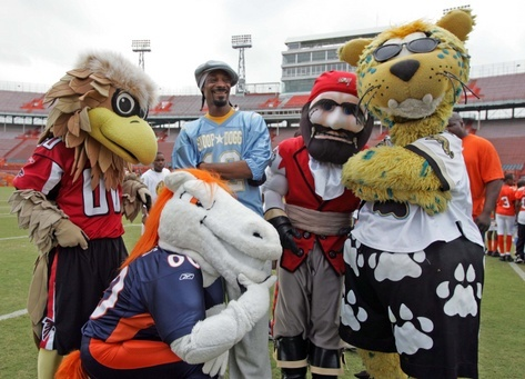 These mascots represent the Falcons, Broncos, Marijuana, Buccaneers, and Jaguars.